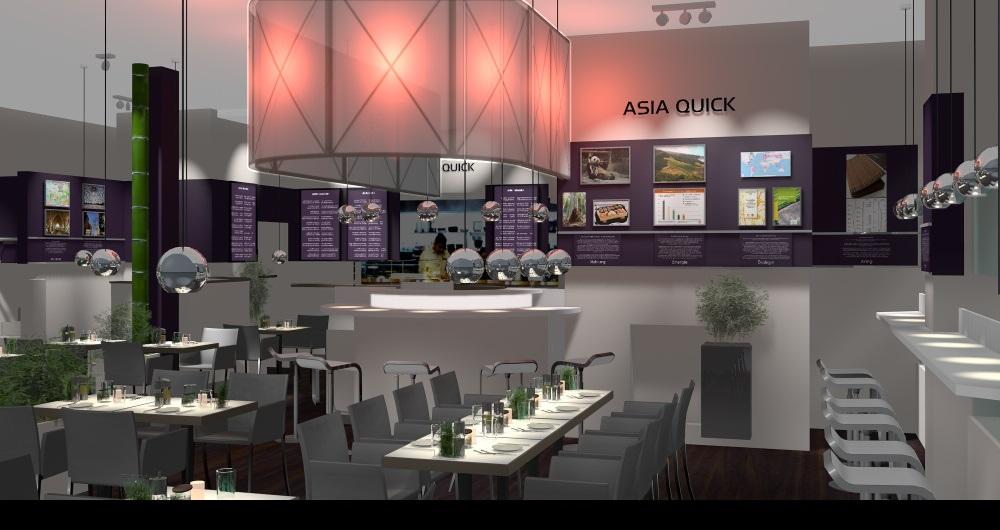 RESTAURANT ASIA QUICK HAMBURG | MODERNISIERUNG Visualisierung Innenraumperspektive: Konzept, Entwurf und Planung
