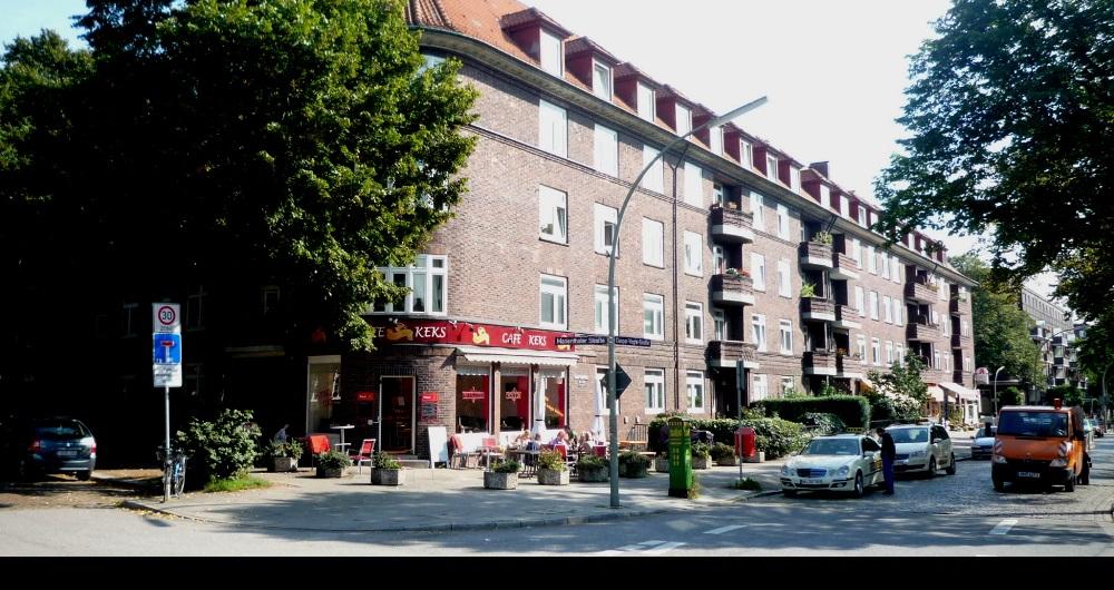 CAFE KEKS HAMBURG | UMNUTZUNG Aussenfassade und Terrasse: Konzept- und Genehmigungsplanung