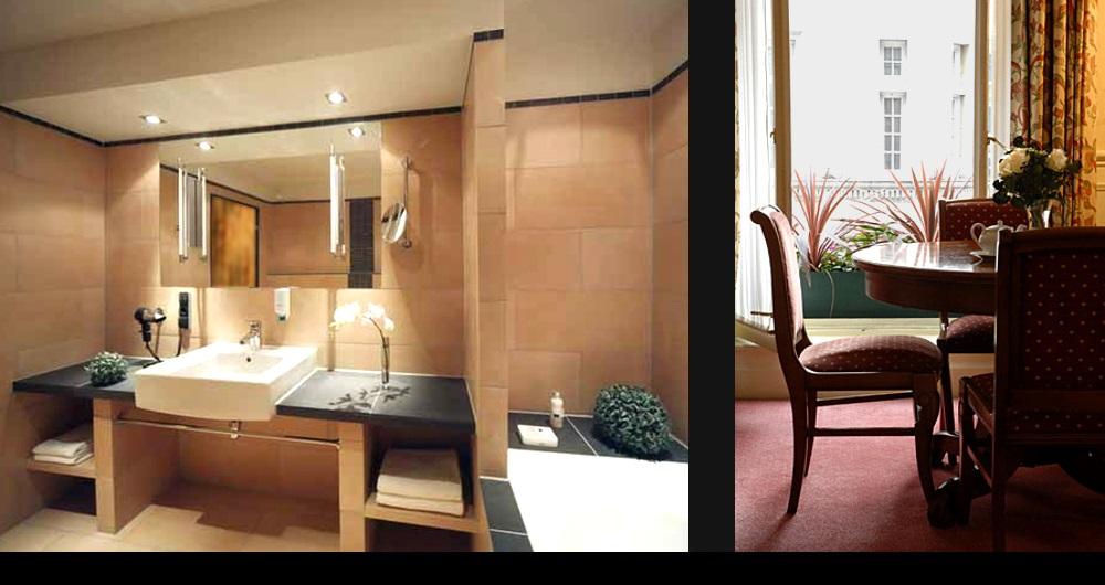 HOTEL JERMYN ST. LONDON | MODERNISIERUNG Badezimmer (links) und Suite (rechts): Teil-Entwurf und Werkplanung für Designworks Ltd.