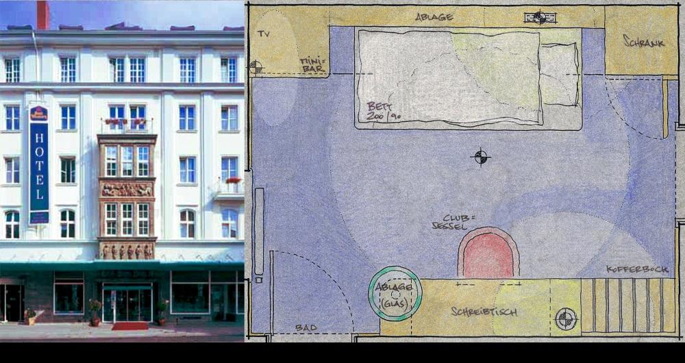 HOTEL SIEDENBURG BREMEN | MODERNISIERUNG Fassade (links) und Hotelzimmer-Entwurf (rechts): Entwurf, Werkplanung, Ausschreibung, Vergabe und Bauleitung