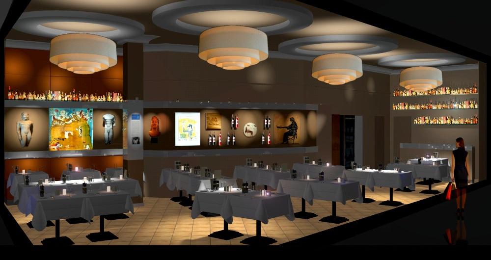 RESTAURANT KOUROS HAMBURG | MODERNISIERUNG Visualisierung: Innenraum, neue Wandgestaltung und Möblierung mit bestehendem Bodenbelag