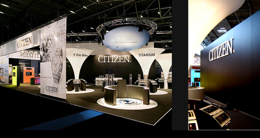 CITIZEN EUROPE INHORGENTA MÜNCHEN | MESSESTAND Messestand (links) und Besprechungsräume hinter Logo (rechts): Akquisition und Projektkoordination für SP Messsebau