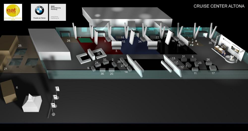 BMW EVENT HAMBURG EAT AND STYLE | MESSE UND EVENT Visualisierung: Übersichtsplan für Gruner & Jahr events