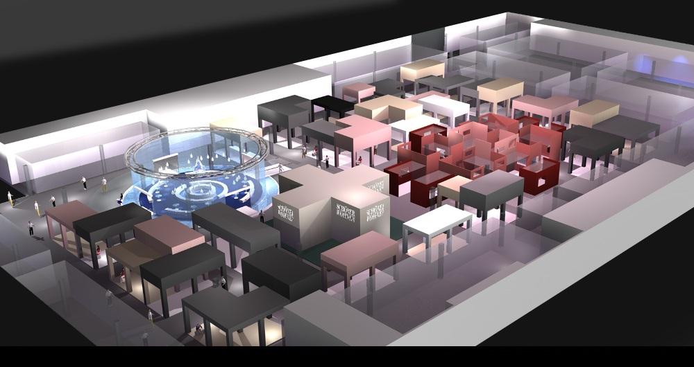 LIVINGINTERIORS MÖBELMESSE KÖLN | MESSEKONZEPT Visualisierung: Gesamtkonzept Einzelhalle für Gruner & Jahr events