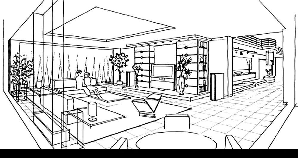 SEEVETAL | NEUBAU EINFAMILIENHAUS | (kein Innenraumfoto wegen Schutz der Privatsphäre) Perspektivskizze des Wohn- und Essbereichs: Konzept, Beratung, Entwurf und Kostenschätzung